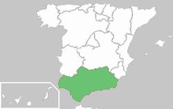 Carte de localisation de l'Andalousie (Espagne)