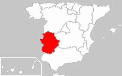 Carte de localisation de l'Estremadure