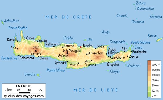 Carte de la Crète   Club des Voyages