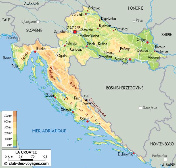 Croatie Carte Identite.Carte De La Croatie Club Des Voyages