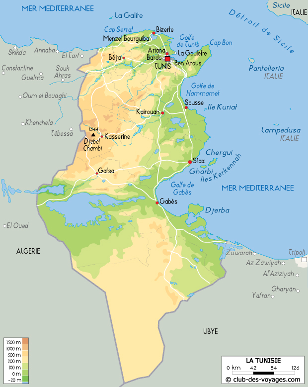 Carte de la Tunisie   Club des Voyages