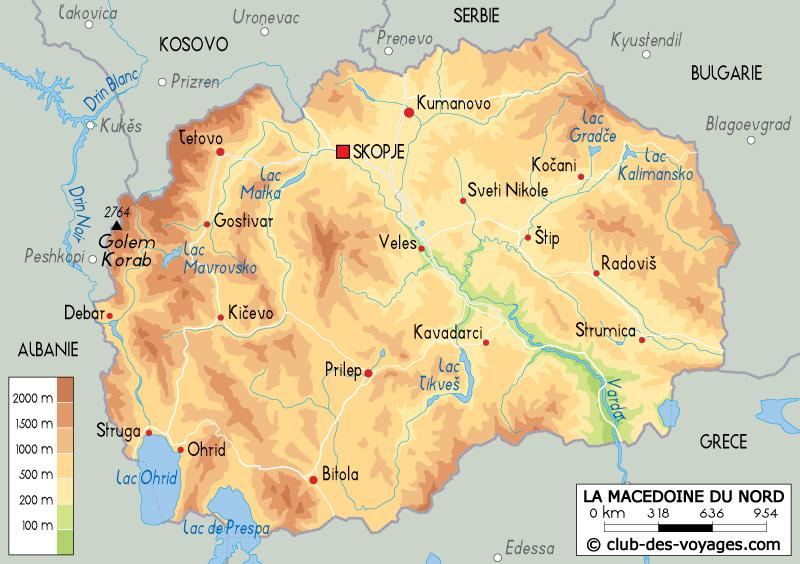 Carte de la Macédoine   Club des Voyages