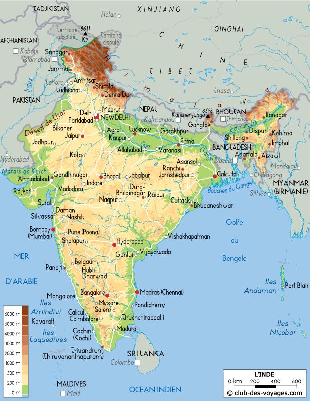 Carte De L Inde Club Des Voyages