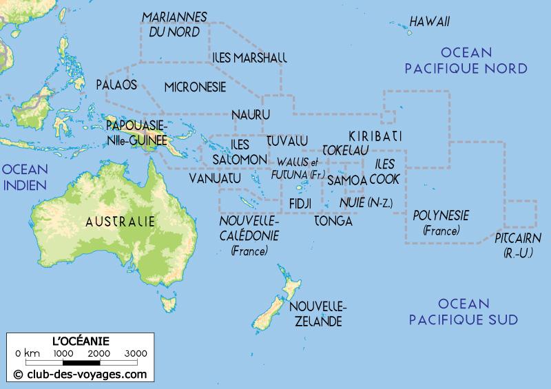 Carte Australie Fidji.Carte D Oceanie Club Des Voyages