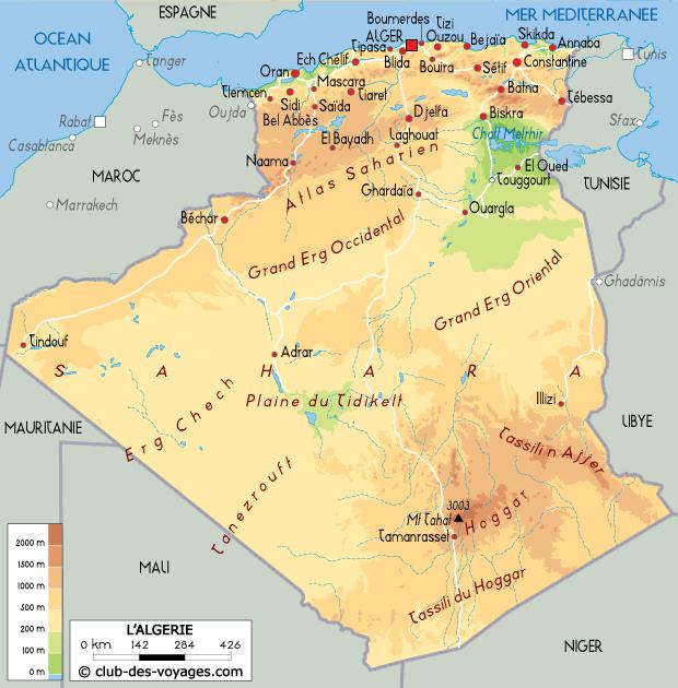 Carte Algeriecom.Carte De L Algerie Club Des Voyages