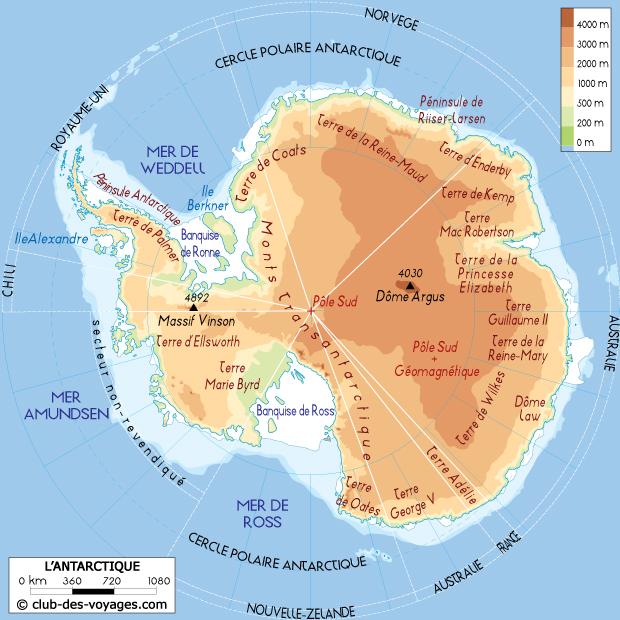 Carte de l'Antarctique (pôle sud)   Club des Voyages