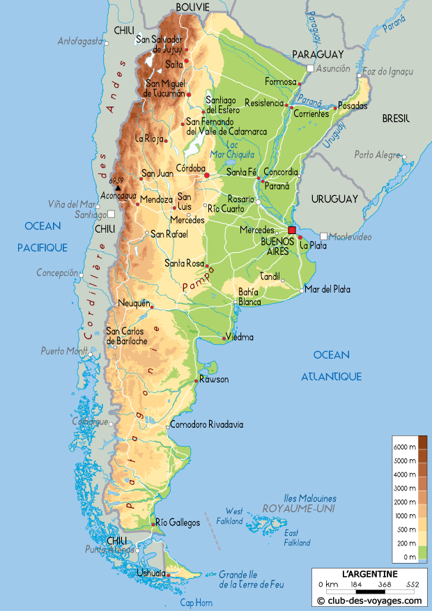 Carte de l'Argentine   Club des Voyages