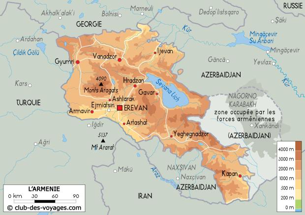 Carte de l'Arménie   Club des Voyages