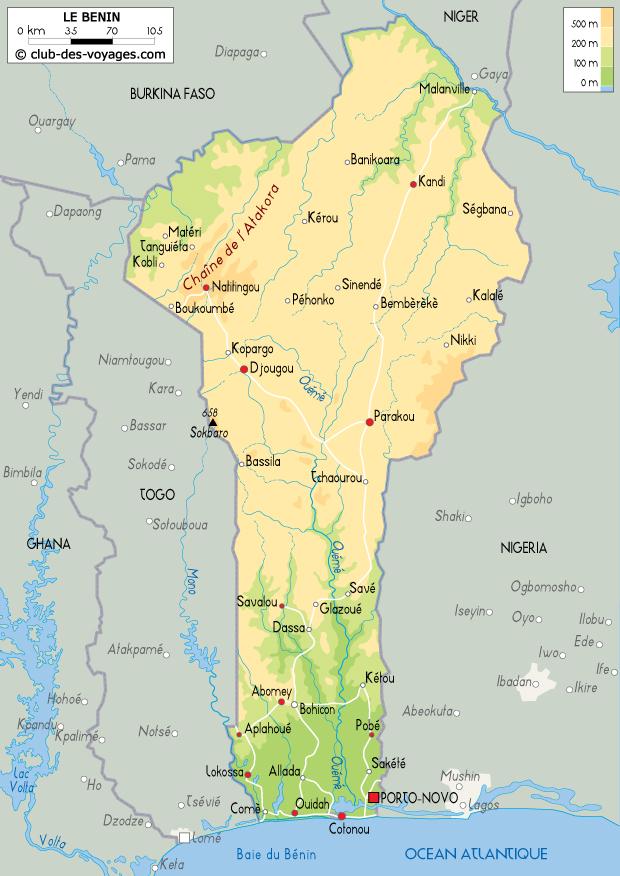 Carte du Bénin   Club des Voyages