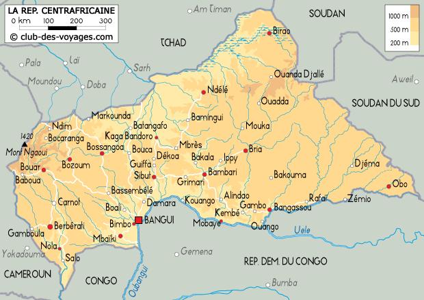 Carte de la République Centrafricaine   Club des Voyages