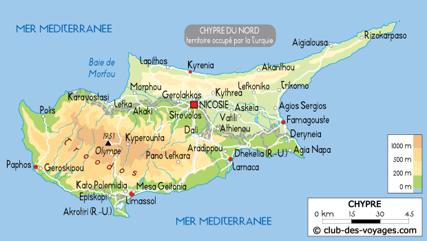 Chypre : Carte de Chypre - Club des Voyages
