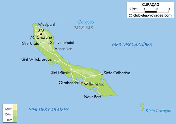 Carte de Curaçao   Club des Voyages