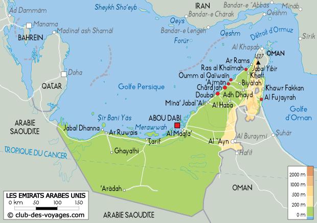 Carte des Émirats Arabes Unis   Club des Voyages