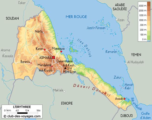 Carte de l'Érythrée   Club des Voyages