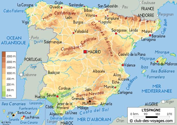 Carte Espagne Nord Est.Carte De L Espagne Club Des Voyages
