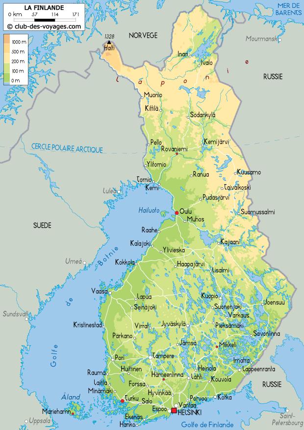 Finlande : Carte de la Finlande - Club des Voyages