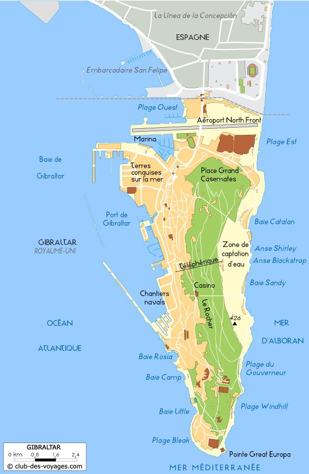 Carte de Gibraltar   Club des Voyages