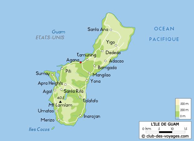 ile de guam carte Carte de Guam   Club des Voyages