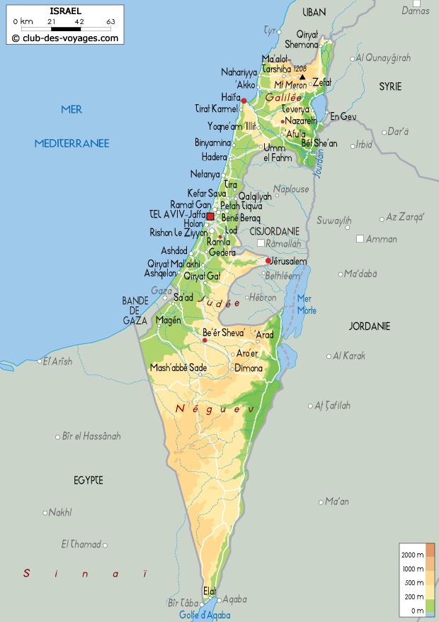 israel carte géographiqe