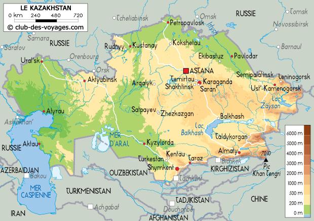 Carte du Kazakhstan   Club des Voyages
