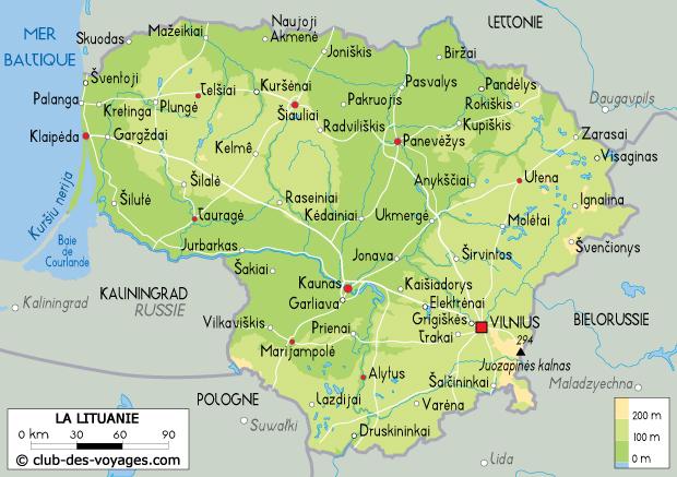 carte de la lituanie