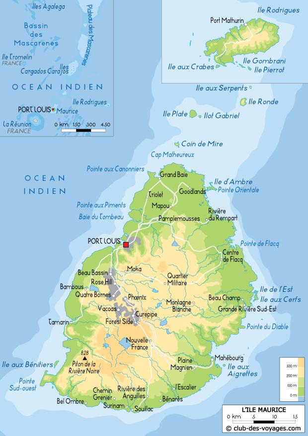 Carte de l'ile Maurice   Club des Voyages