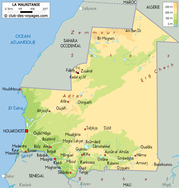Carte Algerie Mauritanie.Carte De La Mauritanie Club Des Voyages