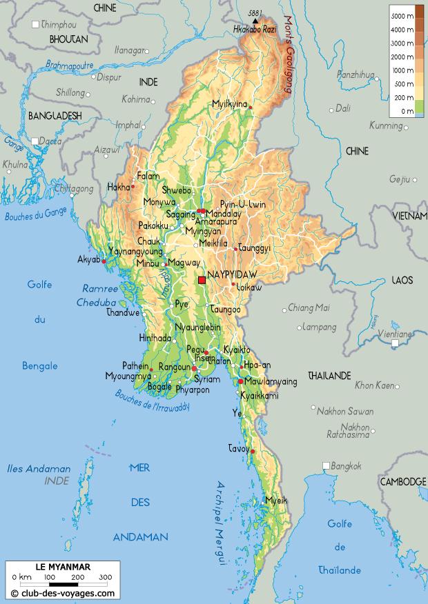 Carte du Myanmar   Club des Voyages