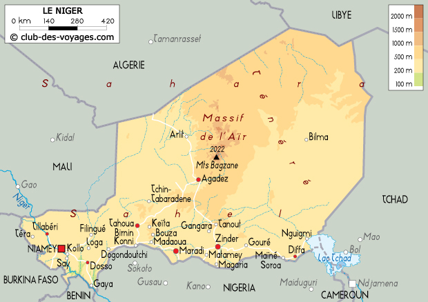 Carte Algerie Niger.Carte Du Niger Club Des Voyages