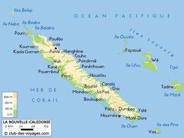 Carte de la Nouvelle Calédonie   Club des Voyages