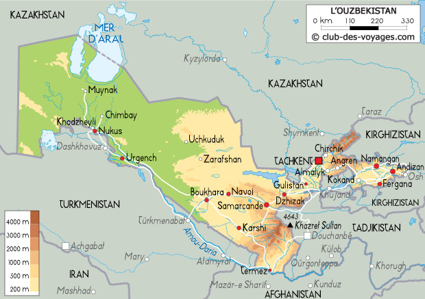 Carte de l'Ouzbékistan   Club des Voyages