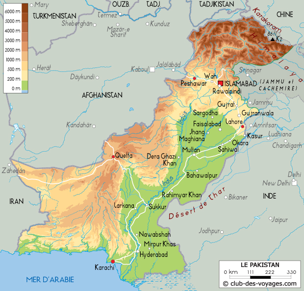 carte du pakistan -