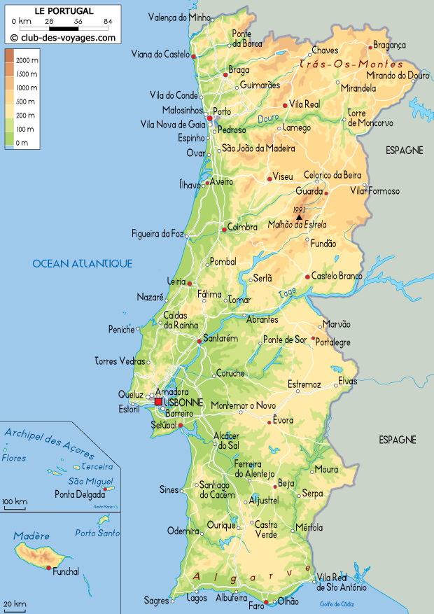 carte du portugal - Image
