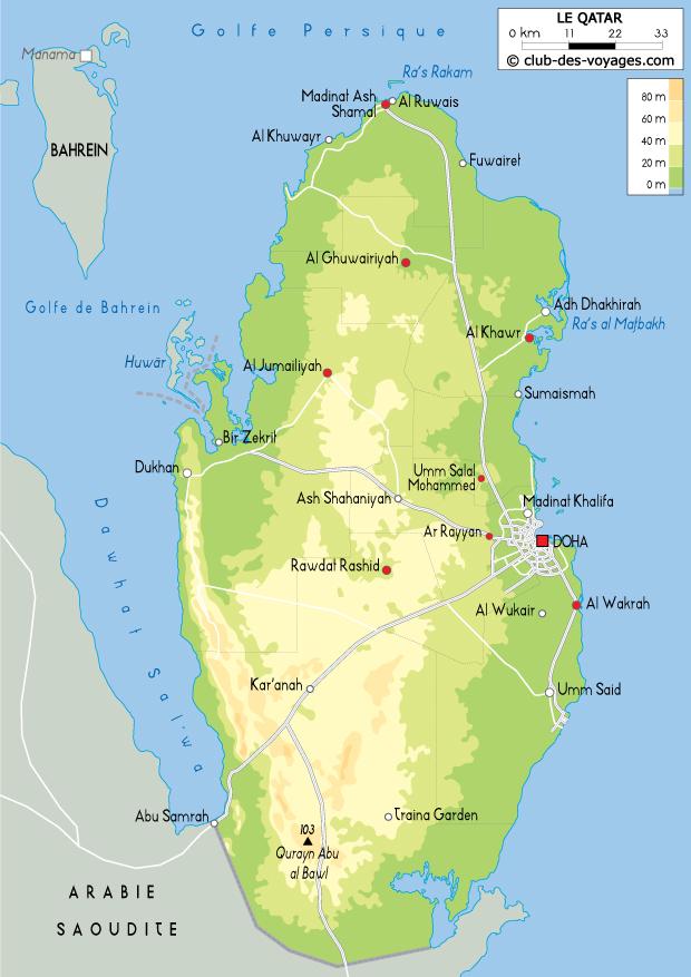 Carte du Qatar   Club des Voyages