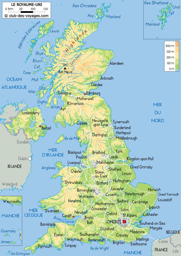 Royaume-Uni montagnes carte