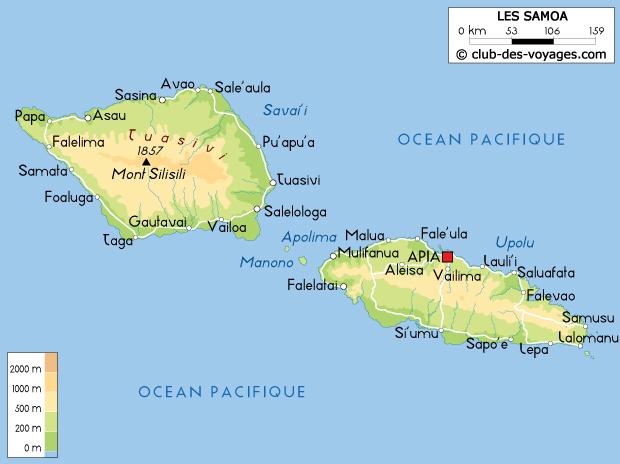 Carte des Samoa   Club des Voyages
