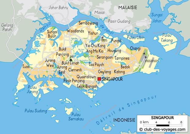 Carte de Singapour   Club des Voyages