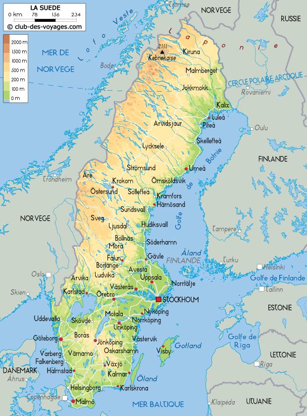 Carte de la Suède   Club des Voyages