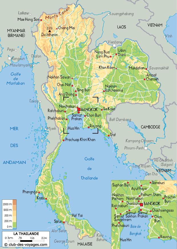 Ayutthaya Carte Thailande.Carte De La Thailande Club Des Voyages