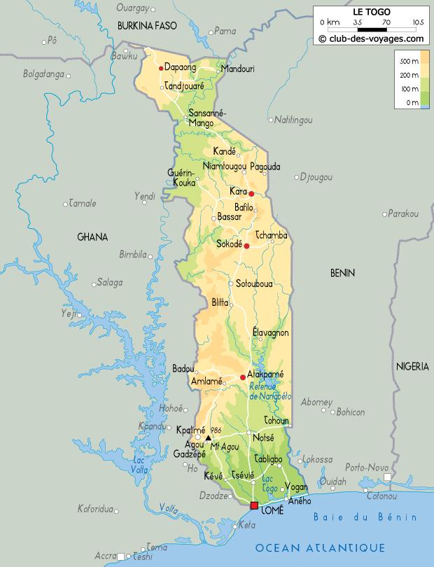 Carte du Togo   Club des Voyages