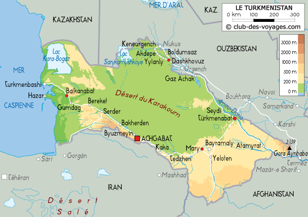 Carte du turkm nistan club des voyages - Les portes de l enfer turkmenistan ...