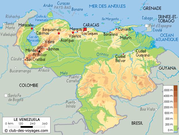 Carte du Venezuela   Club des Voyages