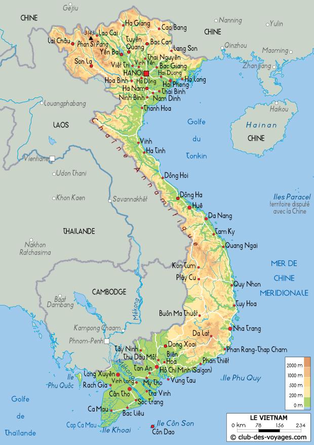 Carte du Viêtnam   Club des Voyages
