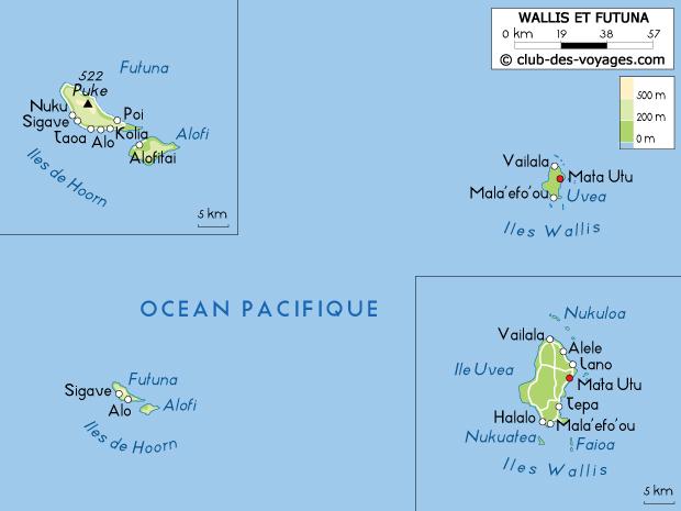 Carte de Wallis et Futuna   Club des Voyages