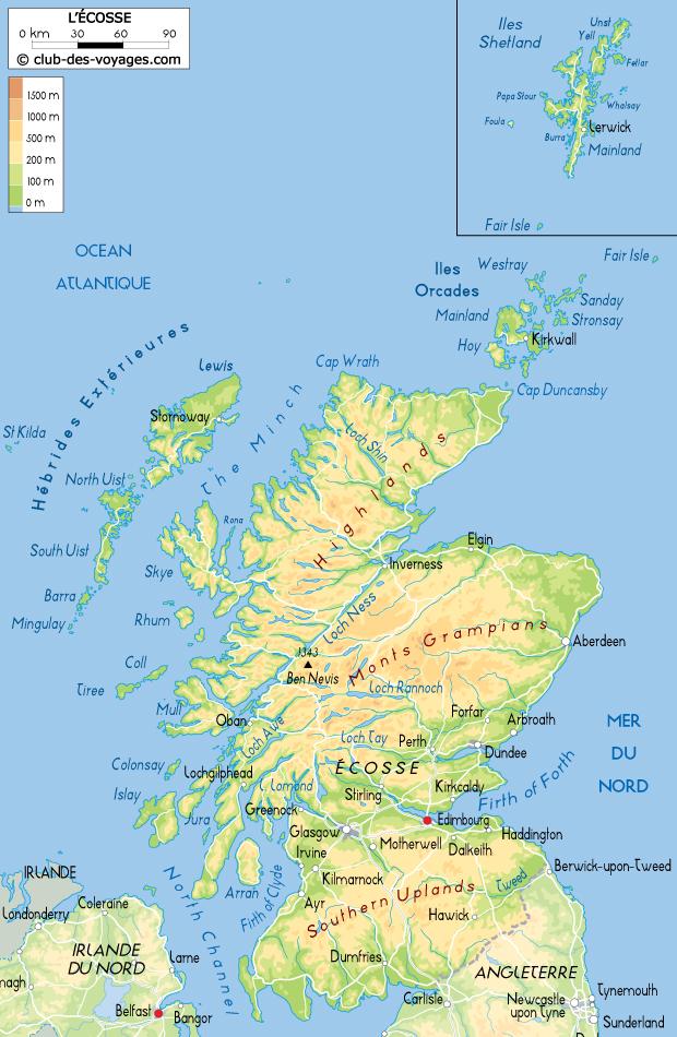 Carte de l'Écosse   Club des Voyages