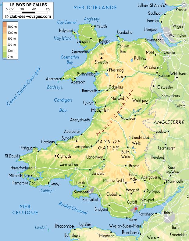 carte du pays de galles Carte du Pays de Galles   Club des Voyages