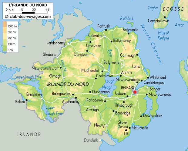 irlande du nord carte Carte d'Irlande du Nord   Club des Voyages