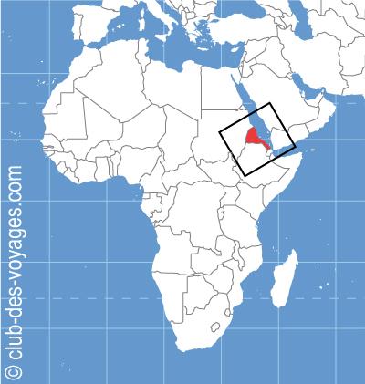 Situation géographique de l'Érythrée   Club des Voyages