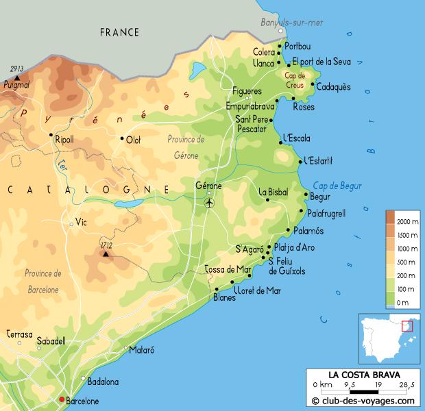 L'Espagne : La Costa Brava : Carte de la Costa Brava   Club des