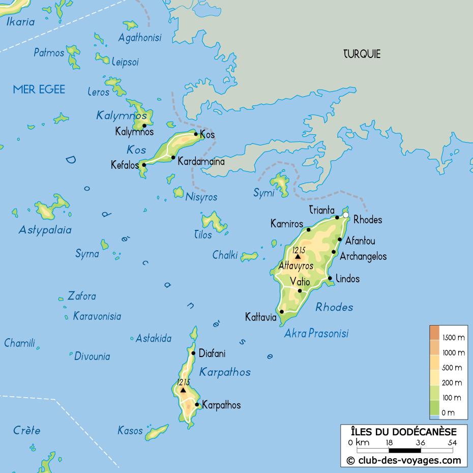 Carte Grece Iles.La Grece Les Iles Du Dodecanese Carte Des Iles Du
